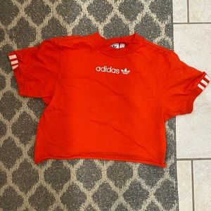 Red Adidas cropped shirt
